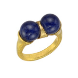 18k Yellow Gold & Lapis Twin Ring