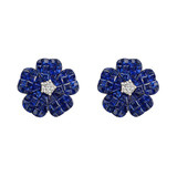 Small Invisibly-Set Sapphire & Diamond Flower Earrings