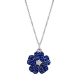 Invisibly-Set Sapphire & Diamond Flower Pendant