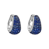 Invisibly-Set Sapphire & Diamond Half-Hoop Earrings