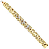 Italian 18k Yellow Gold & Diamond Cluster Bracelet