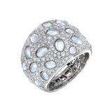 "Rock Crystal & Diamond ""Bubble"" Band Ring"