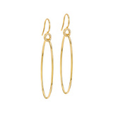 18k Gold Drop Hoop Earrings with Diamond