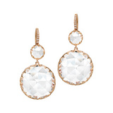 Rock Crystal Drop Earrings with Diamond