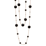 Onyx & Diamond Long Necklace