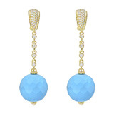 Turquoise Bead Drop Earrings with Diamond