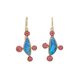 Boulder Opal & Ruby Drop Earrings