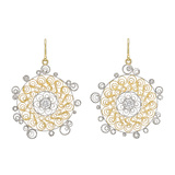 18k Gold & Diamond Filigree Drop Earrings