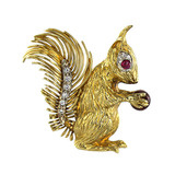 18k Gold & Gem-Set Squirrel Pin