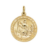 Large 14k Yellow Gold St. Christopher Pendant