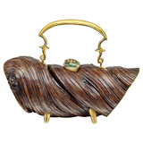 Carved Wood & Gem-Set Handbag