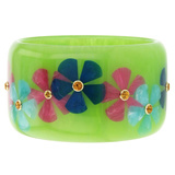 Bright Green & Multicolor Flower Inlay Bakelite Bangle with Citrine