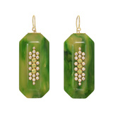 Green Bakelite, Diamond & Peridot Pendant Earrings