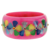 Bright Pink & Multicolor Flower Inlay Bakelite Bangle With Gemstones