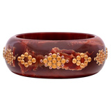 Burgundy Marbled Bakelike Bangle with Citrine