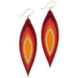 Burgundy, Pink & Orange Bakelite Earrings with Yellow Sapphire
