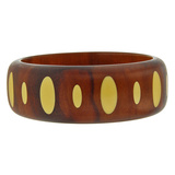Carved Wood & Ivory-Colored Bakelite Inlay Bangle