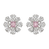 Fancy Intense Pink & Colorless Diamond Cluster Earrings