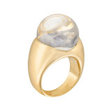 18k Gold, Rock Crystal & Diamond 'Globe' Ring