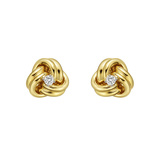 Medium 14k Yellow Gold & Diamond Knot Earstuds