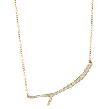 18k Gold & Pavé Diamond Twig Pendant Necklace
