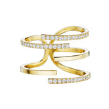 "18k Yellow Gold & Diamond ""Piece Stick"" Ring"