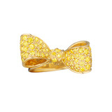 Small Pavé Yellow Sapphire Bow Ring