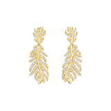 "18k Yellow Gold & Diamond ""Phoenix"" Feather Drop Earrings"