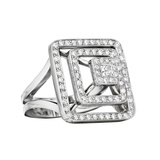 18k White Gold & Diamond Pyramid Ring