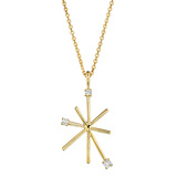 18k Yellow Gold & Diamond Star Stick Pendant Necklace