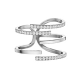 "18k White Gold & Diamond ""Piece Stick"" Ring"