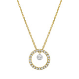Mini Diamond Open Circle Drop Pendant