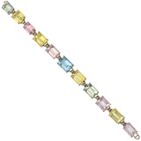 Emerald-Cut Multicolored Beryl Link Bracelet