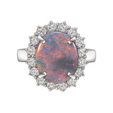 Opal & Diamond Cluster Cocktail Ring