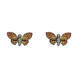 Small Multicolored Sapphire & Diamond Butterfly Earstuds