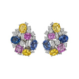 Multicolored Sapphire & Diamond Cluster Earrings