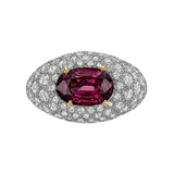 Pink Sapphire & Diamond Domed Ring