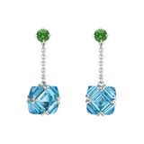 Blue Topaz & Tsavorite Chain Drop Earrings