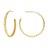 "Large 18k Yellow Gold ""Brillante"" Hoop Earrings"