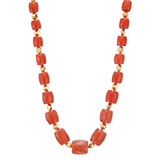 "Coral & 18k Rose Gold ""Brillante"" Bead Long Necklace"