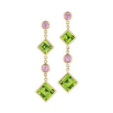 """Florentine"" Peridot & Pink Sapphire Drop Earrings"