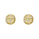 "18k Yellow Gold & Diamond ""Flutti"" Stud Earrings"