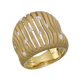 "Brushed 18k Yellow Gold & Diamond ""Flutti"" Ring"