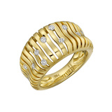 "18k Yellow Gold & Diamond ""Flutti"" Tapered Band Ring"