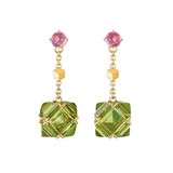 Peridot & Pink Sapphire Drop Earrings