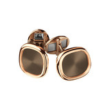 18k Rose Gold & Brown Enamel Ellipse Cufflinks