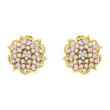 """Anemone"" 18k Gold & Pavé Diamond Stud Earrings"