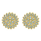 "Aquamarine & Diamond ""Appliqué"" Earrings"