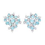 "Aquamarine & Diamond ""Bubble Cluster"" Earrings"