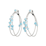 "Aquamarine Double ""Unity"" Hoop Earrings"
